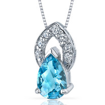 Captivating Allure 1.25 Carats Pear Shape Sterling Silver Swiss Blue Topaz Pendant Style SP9290