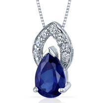Captivating Allure 1.75 Carats Pear Shape Sterling Silver Blue Sapphire Pendant Style SP9296