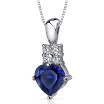 Captivating Love 1.75 Carats Heart Shape Sterling Silver Blue Sapphire Pendant Style SP9368