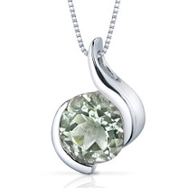 Stunning Sophistication 1.75 Carats Round Shape Sterling Silver Green Amethyst Pendant Style SP9484