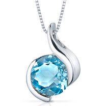 Stunning Sophistication 2.25 Carats Round Shape Sterling Silver Swiss Blue Topaz Pendant Style SP9486