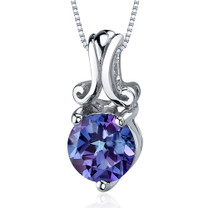 Refined Charm 1.75 Carats Round Cut Sterling Silver Alexandrite Pendant Style SP9514