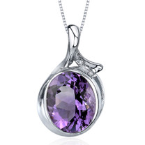 Boldly Colorful 4.00 Carats Oval Cut Sterling Silver Amethyst Pendant Style SP9570
