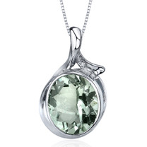 Boldly Colorful 4.00 Carats Oval Cut Sterling Silver Green Amethyst Pendant Style SP9574