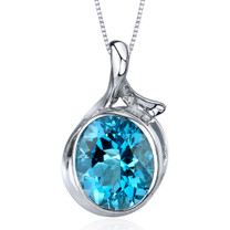 Boldly Colorful 5.25 Carats Oval Cut Sterling Silver Swiss Blue Topaz Pendant Style SP9576