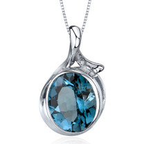 Boldly Colorful 5.00 Carats Oval Cut Sterling Silver London Blue Topaz Pendant Style SP9578