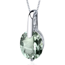 Stunning Class 2.25 Carats Oval Cut Sterling Silver Green Amethyst Pendant Style SP9590