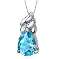 Dashing 2.75 Carats Pear Shape Sterling Silver Swiss Blue Topaz Pendant Style SP9680