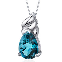 Dashing 3.25 Carats Pear Shape Sterling Silver London Blue Topaz Pendant Style SP9682