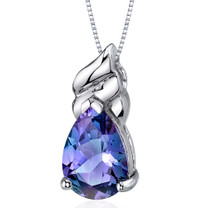 Dashing 3.75 Carats Pear Shape Sterling Silver Alexandrite Pendant Style SP9688