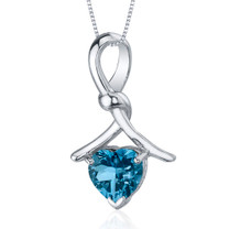 Charming Spiral 2.00 Carats Heart Shape Sterling Silver London Blue Topaz Pendant Style SP9732