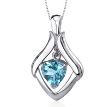 Exuberant Love 3.00 Carats Heart Shape Sterling Silver Swiss Blue Topaz Pendant Style SP9784