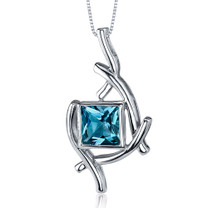 Artistic Design 2.00 Carats Princess Cut Sterling Silver London Blue Topaz Pendant Style SP9872