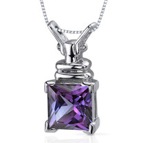 Boldly Regal 3.25 Carats Princess Cut Sterling Silver Alexandrite Pendant Style SP9916