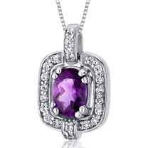 Dazzling Opulence 0.75 Carats Oval Cut Sterling Silver Amethyst Pendant Style SP10022