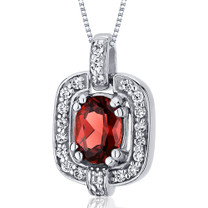 Dazzling Opulence 1.00 Carats Oval Cut Sterling Silver Garnet Pendant Style SP10024