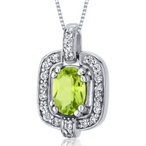 Dazzling Opulence 1.00 Carats Oval Cut Sterling Silver Peridot Pendant Style SP10026