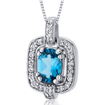 Dazzling Opulence 1.00 Carats Oval Cut Sterling Silver Swiss Blue Topaz Pendant Style SP10028