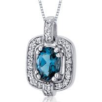 Dazzling Opulence 0.75 Carats Oval Cut Sterling Silver London Blue Topaz Pendant Style SP10030