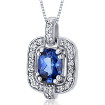 Dazzling Opulence 1.00 Carats Oval Cut Sterling Silver Blue Sapphire Pendant Style SP10034
