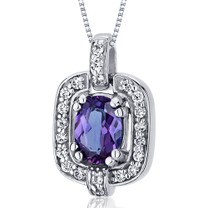 Dazzling Opulence 1.00 Carats Oval Cut Sterling Silver Alexandrite Pendant Style SP10038