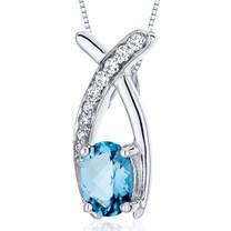 Lucid Elegance 0.75 Carats Oval Cut Sterling Silver Swiss Blue Topaz Pendant Style SP10046