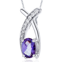 Lucid Elegance 1.00 Carats Oval Cut Sterling Silver Alexandrite Pendant Style SP10056