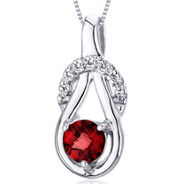 Elegant Glamour 0.50 Carats Round Cut Sterling Silver Garnet Pendant Style SP10078