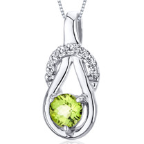 Elegant Glamour 0.50 Carats Round Cut Sterling Silver Peridot Pendant Style SP10080