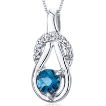 Elegant Glamour 0.50 Carats Round Cut Sterling Silver London Blue Topaz Pendant Style SP10084