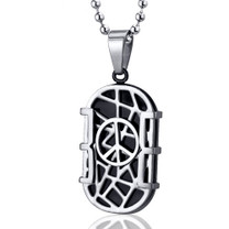 Modern Art Crisscross Stainless Steel Peace Sign Dog Tag Pendant Style SN10108