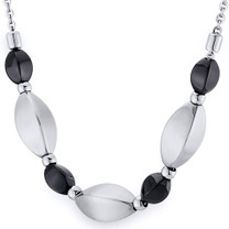 Black Tone and Brushed Finish Bead Stainless Steel Necklace Style SN10222