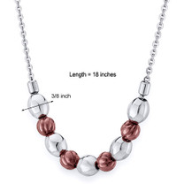 Coffee Tone Octagon Bead Stainless Steel Necklace Style SN10224