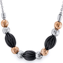 Black Gold Tone Corrugated Bead Stainless Steel Necklace Style SN10226