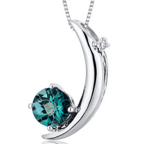 Crescent Moon Design 1.00 Carats Round Cut Sterling Silver Alexandrite Pendant Style SP10272