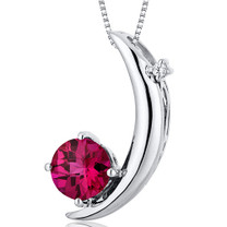 Crescent Moon Design 1.00 Carats Round Cut Sterling Silver Ruby Pendant Style SP10274