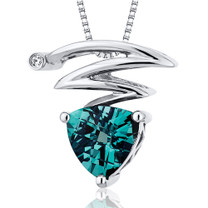 Electrifying Lightning Bolt 1.25 Carats Trillion Cut Sterling Silver Alexandrite Pendant Style SP10290