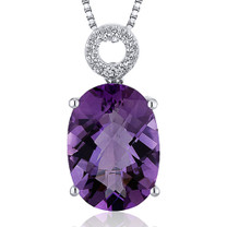 Opulent 5.00 Carats Oval Cut Sterling Silver Amethyst Pendant Style SP10342