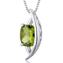Intricate 1.50 Carats Radiant Cut Sterling Silver Peridot Pendant Style SP10382