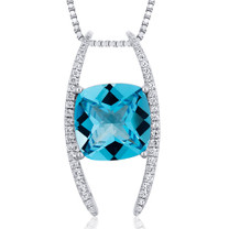Slider Style Large 6.00 Carats Cushion Cut Sterling Silver Swiss Blue Topaz Pendant Style SP10452