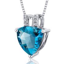 Elegant 2.75 Carats Trillion Cut Sterling Silver London Blue Topaz Pendant Style SP10488