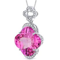 Lily Cut Large 22.00 Carats Sterling Silver Pink Sapphire Pendant Style SP10502