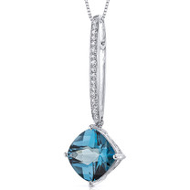 Dangling 4.50 Carats Cushion Cut Sterling Silver London Blue Topaz Pendant Style SP10514