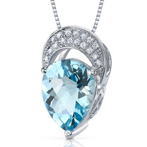 Elegant Tear Drop 2.50 Carats Pear Shape Sterling Silver Swiss Blue Topaz Pendant Style SP10530
