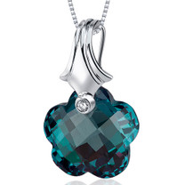 Florentine Cut 17.00 Carat Alexandrite Necklace In Sterling Silver Style SP10598