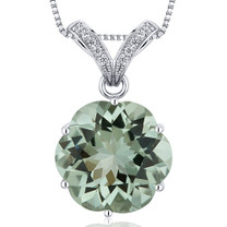 Striking Slider 10.00 Carats Round Octagon Cut Sterling Silver Green Amethyst Pendant Style SP10612