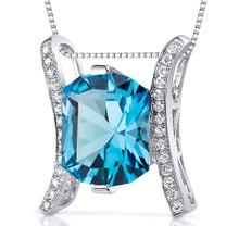 Prince Cut 4.00 Carats Sterling Silver Swiss Blue Topaz Slider Pendant Style SP10616