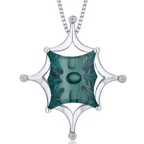 Butterfly Cut Buff Top Large 13.00 Carats Sterling Silver Green Spinel Pendant Style SP10628