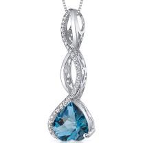 Dangling 3.00 Carats Heart Shape Sterling Silver London Blue Topaz Pendant Style SP10660