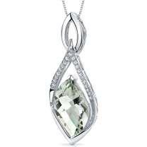 Luminous 8.00 Carats Leaf Cut Sterling Silver Green Amethyst Pendant Style SP10664